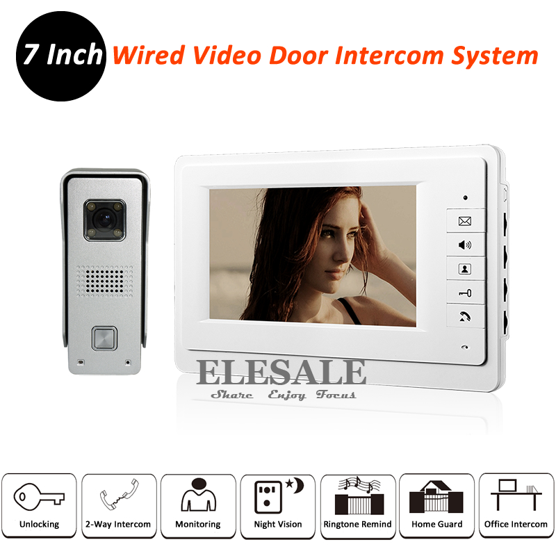7 Video Door Phone Handsfree Intercom System Aluminum Alloy Camera Night Vision Color Monitor hot sale video door phone intercom system 7 inch color lcd monitor video intercom night vision alloy waterproof door camera