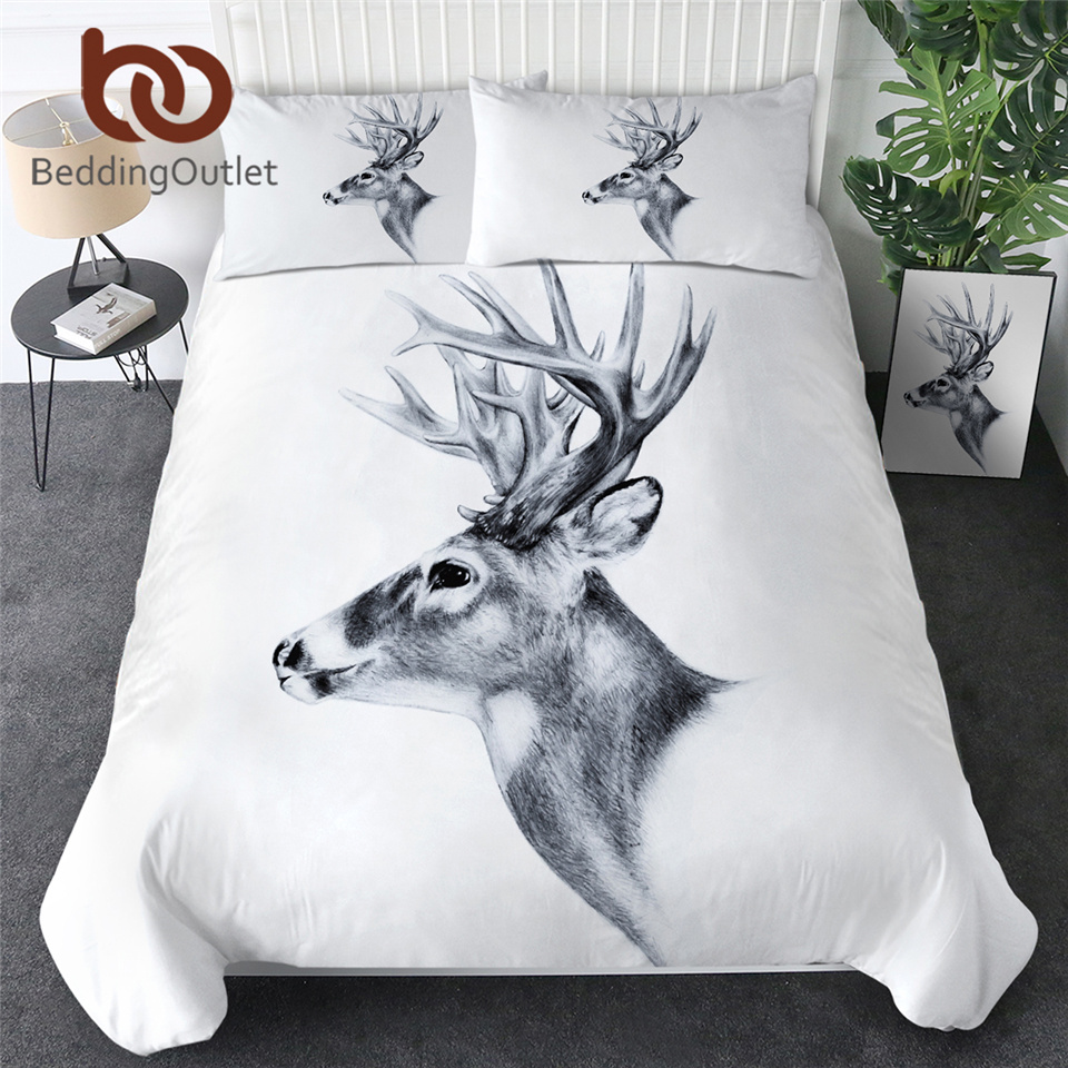 BeddingOutlet Elk Nordic Bedding Set Queen Moose Duvet Cover Animal Reindeer Bedspread White Bed Set Sketch Art Double Bedding