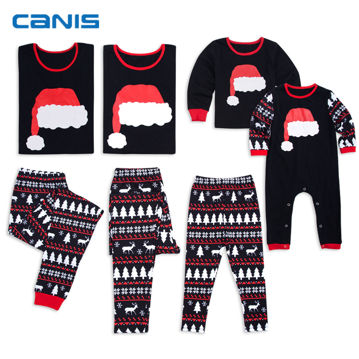 25d1ff4517c 2018 Brand New Christmas Family Matching Cute Hat Pajamas Adult Women Kid  Baby Sleepwear Set Santa Hat Tops Shirt + Elks Pants-in Matching Family  Outfits ...