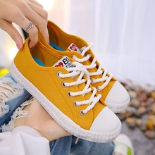 Women shoes 2019 new white lace-up canvas shoes