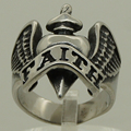 wing hug faith in sword heart 316L stainless steel ring