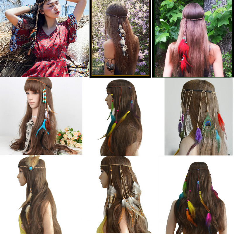 Ethnic Handmade Bohemian Indian Colorful Feather Headbands Festival Hippie Headdress Headpiece Hiar Accessories Fashion Jewelry