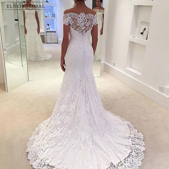 Modest Lace Mermaid Wedding Dresses 2019 Off The Shoulder Robe De Mariee Bruidsjurken Handmade Trouwjurk Bridal Gowns