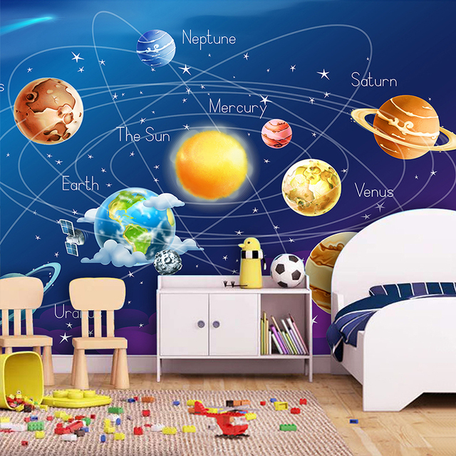 Custom Mural Wallpaper 3D Cartoon Planet Solar System Photo Wallpaper Kids Room  Bedroom Wall Painting Living. Custom Mural Wallpaper 3D Cartoon Planet Solar System Photo