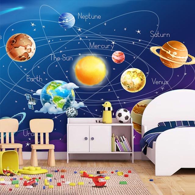 Custom Mural Wallpaper Cartoon Planet Solar System Photo Kids Room Bedroom Wall Painting Living