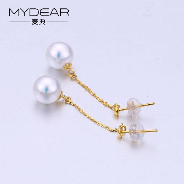 MYDEAR Fine Pearl Jewelry Gold Long Drop Earrings Antique 100% Real 8-8.5mm White Akoya Pearl Earrings Fine-costume-jewelry