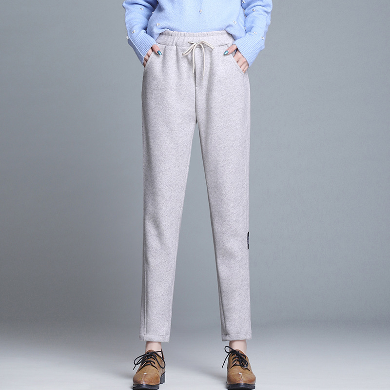 Nonis Imitation Woolen Straight Leg Lady   Pants   Women Mid Waist Slim Trousers Chic Streetwear Casual Pencil   Pants     Capris   Female