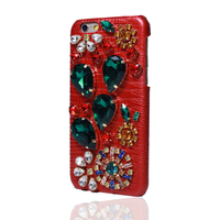 REAL GENUINE LEATHER 3D Luxury Bling Crystal Rhinestone Diamond Cover Hard Case For Iphone 7 7Plus