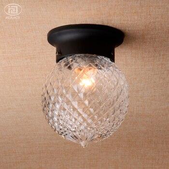 Простая гардеробная круглая светодиодная прозрачная стеклянная потолочная лампа для коридора, балкона, крыльца, ананаса, потолочная лампа