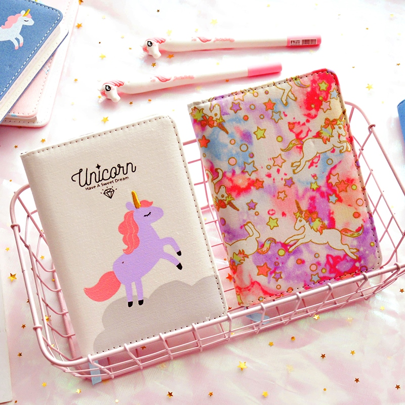 Unicorn ver.3 Faux Leather Cute Monthly Weekly Daily Planner Lined Freenote Study Notebook Journal Travel creative art fashion a6 journal planner book weekly monthly daily page blank paper pu leather diary notebook gift free shipping