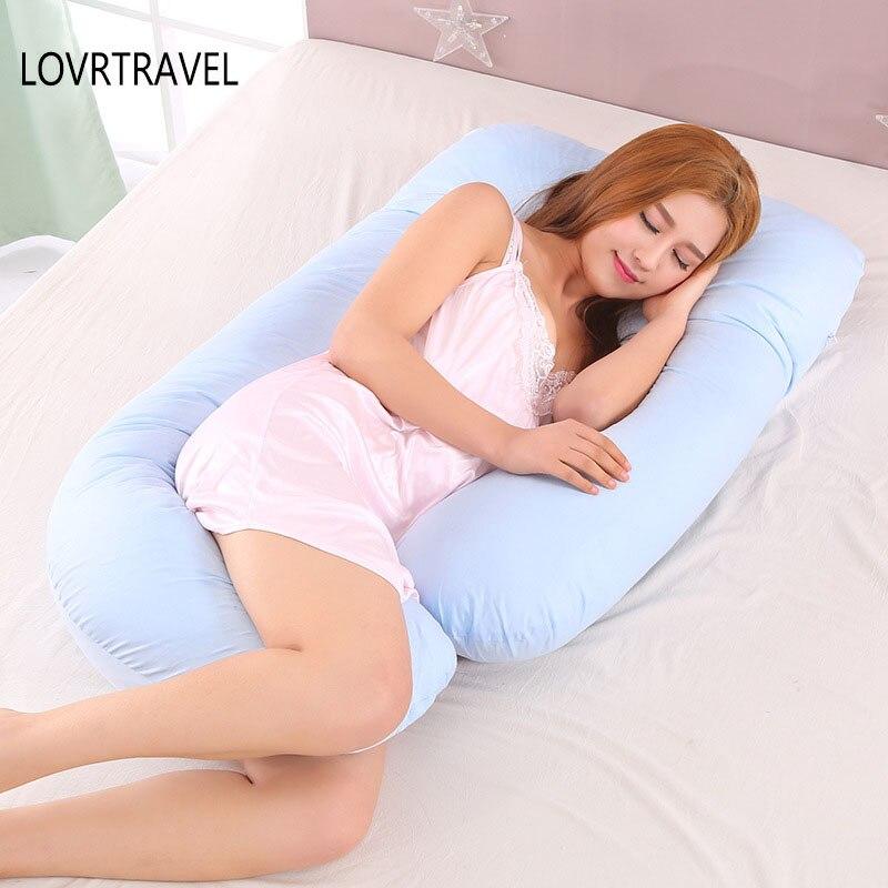 Беременность Подушка постельные принадлежности полное тело подушку для беременных Для женщин Удобная u-образная Подушка длинной стороне с...