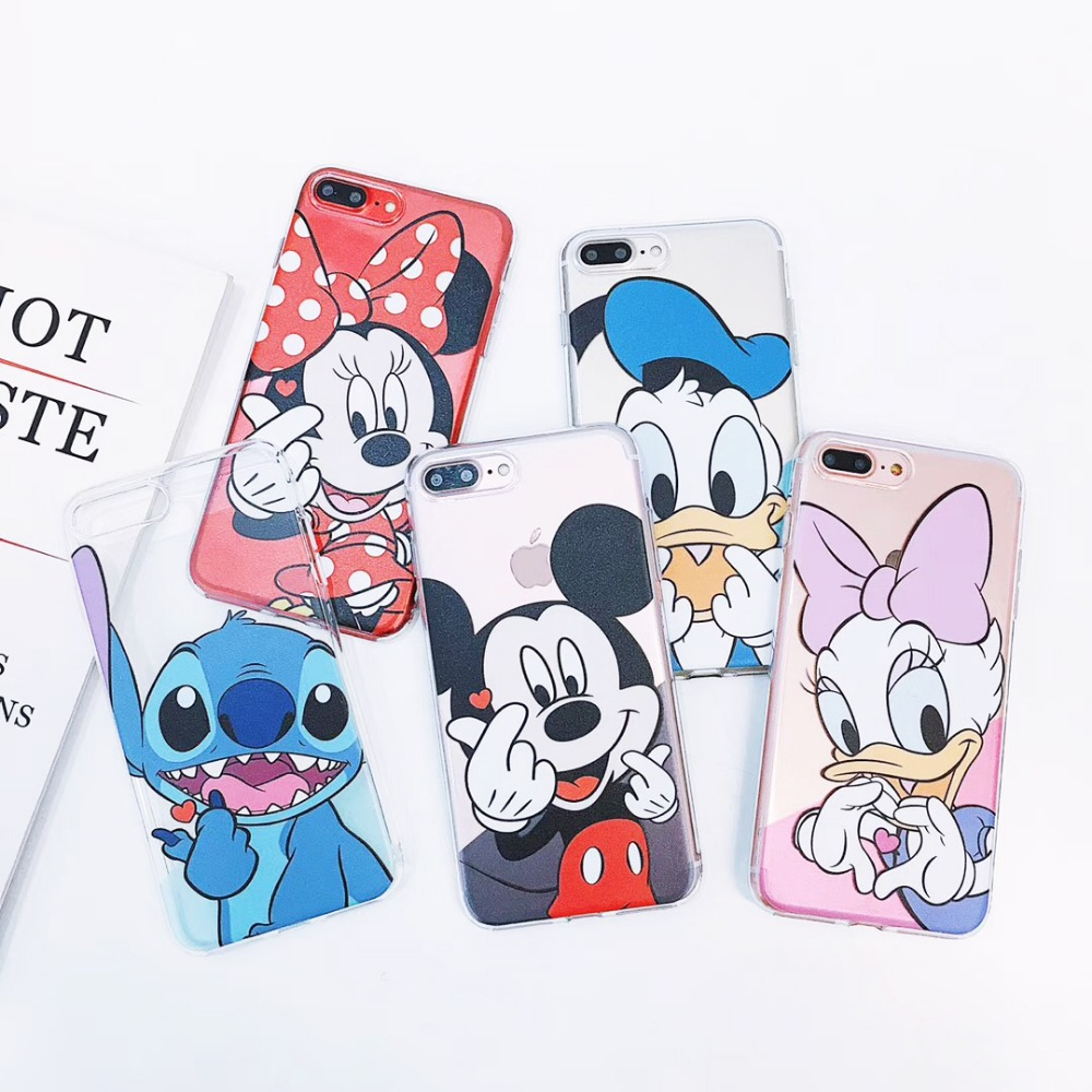 For iPhone X Cute Stitch Mickey Minnie Mouse Donald Daisy Duck Finger Heart Clear Soft TPU Case Cover For iPhone 8 6 6S 7 Plus