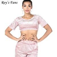 Roy's Fani Kobiety W Stylu Vintage Solidna Moda Strój Spodnie S 2 sztuk Zestawów Crop Top + Krótki Casual Sexy Kobiet spodnie Ustaw