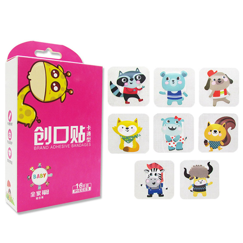 16Pcs/Lot Waterproof Breathable Cute Cartoon Band Aid Hemostasis Adhesive Bandages First Aid Emergency Kit For Kids Children