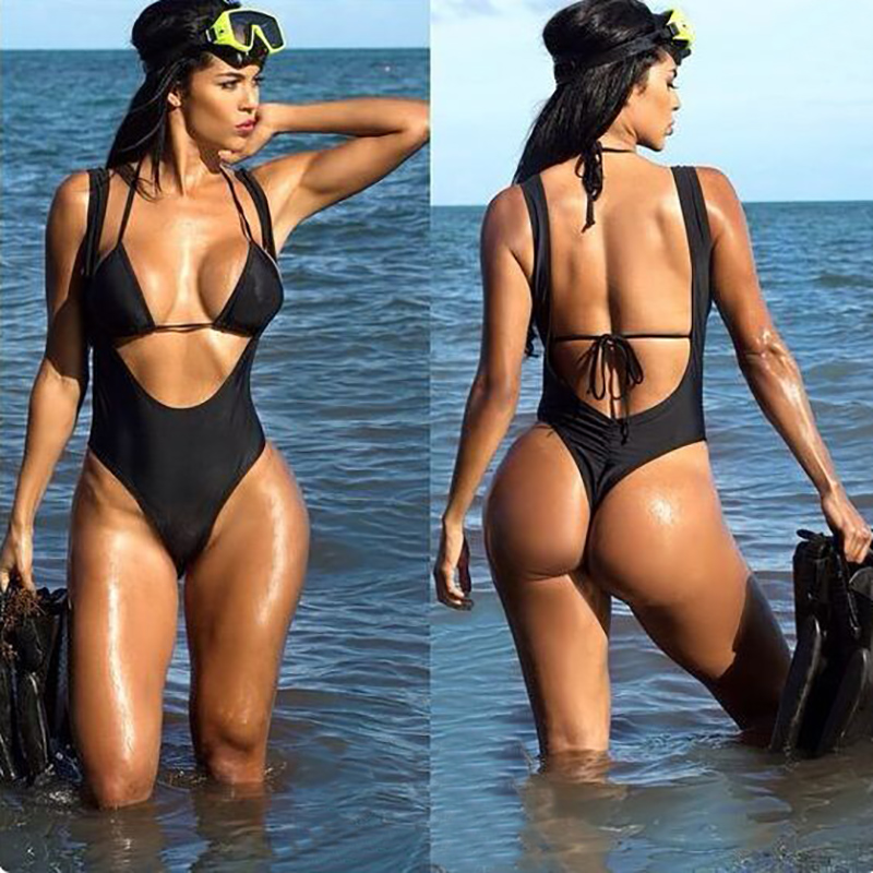 2f10021f728 Sexy Push Up Swimwear Women Two Piece Swimsuit Print Halter Top Bikinis  High Cut Out Monokini Bathing Suit Swimming suit biquini-in Body Suits from  Sports ...