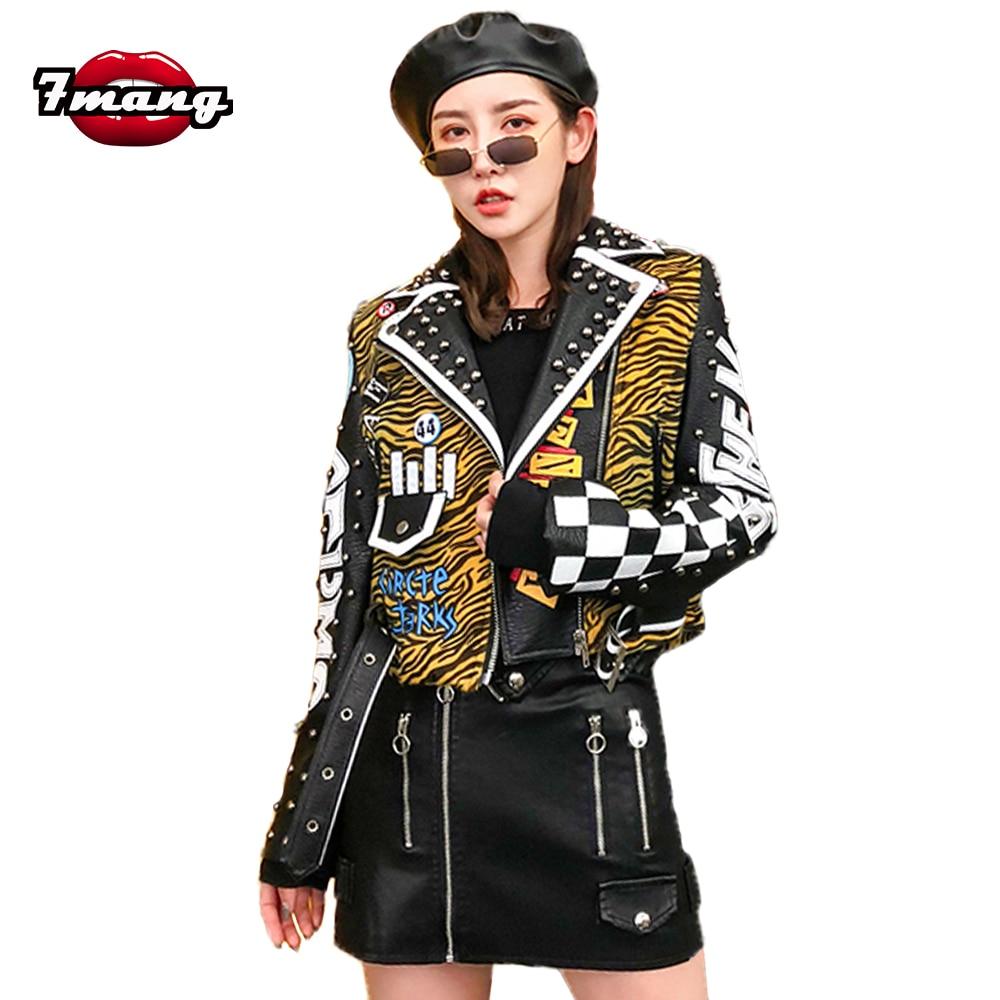 7mang 2019 Autumn Women Punk Street Zebra Printing Short Pu   Leather   Jacket Slim Party Faux   Leather   Jackets Black Biker Jackets