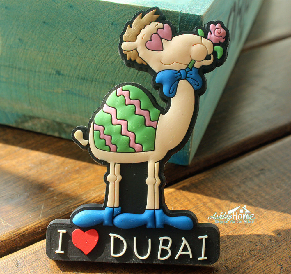 I Love Dubai, Funny Cartoon Camel Animal Rubber Fridge Magnet Tourist Travel Souvenir GIFT