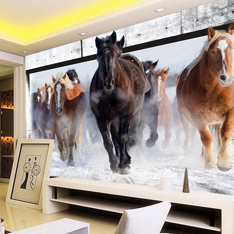 Custom Size 3D Stereo Running Horse Photo Wallpaper Mural Sofa TV Background Wall Covering for Bedroom Living Room Home Decor custom photo wallpaper 3d stereoscopic cave seascape sunrise tv background modern mural wallpaper living room bedroom wall art