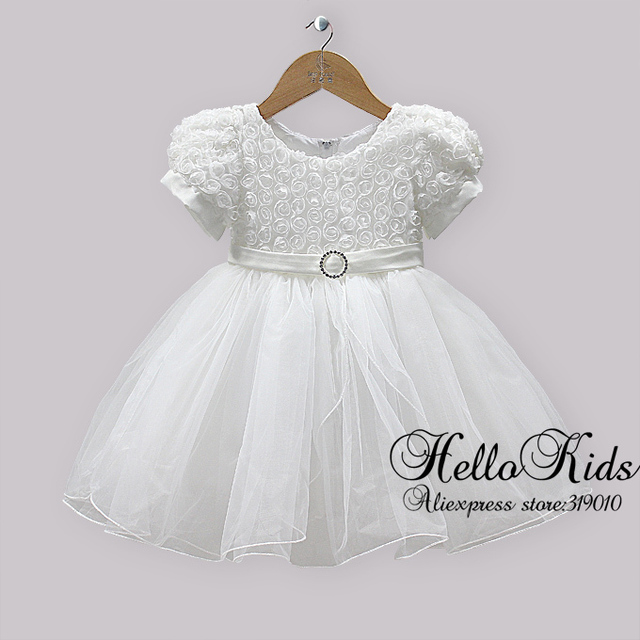Children Christmas Party Dresses Kids White Gauze And Lace Rose Dress Fashion Dress For Infant Flower Kids Wear Hot Seller