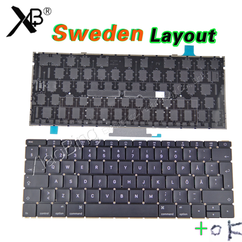 New A1534 SW SE Sweden Swedish Keyboard Backlight Backlit +Screws for Macbook 12 A1534 Keyboard 2015 Year