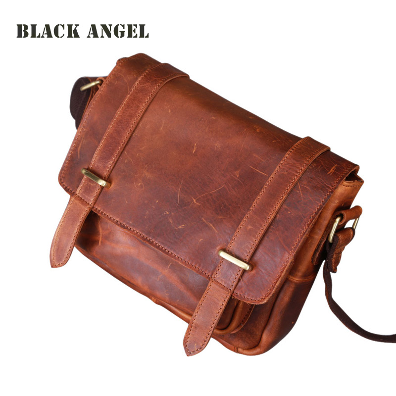 Classic Vintage Mens Natural Cowhide Leather crossbody bag business casual shoulder crazy horse leather messenger bags for man