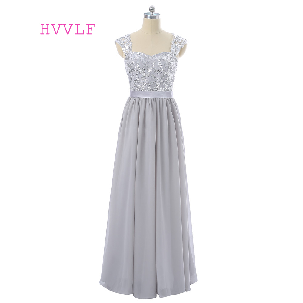 Silver 2019 A-line Cap Sleeves Chiffon Sequins Lace Long   Bridesmaid     Dresses   Cheap Under 50 Wedding Party   Dresses