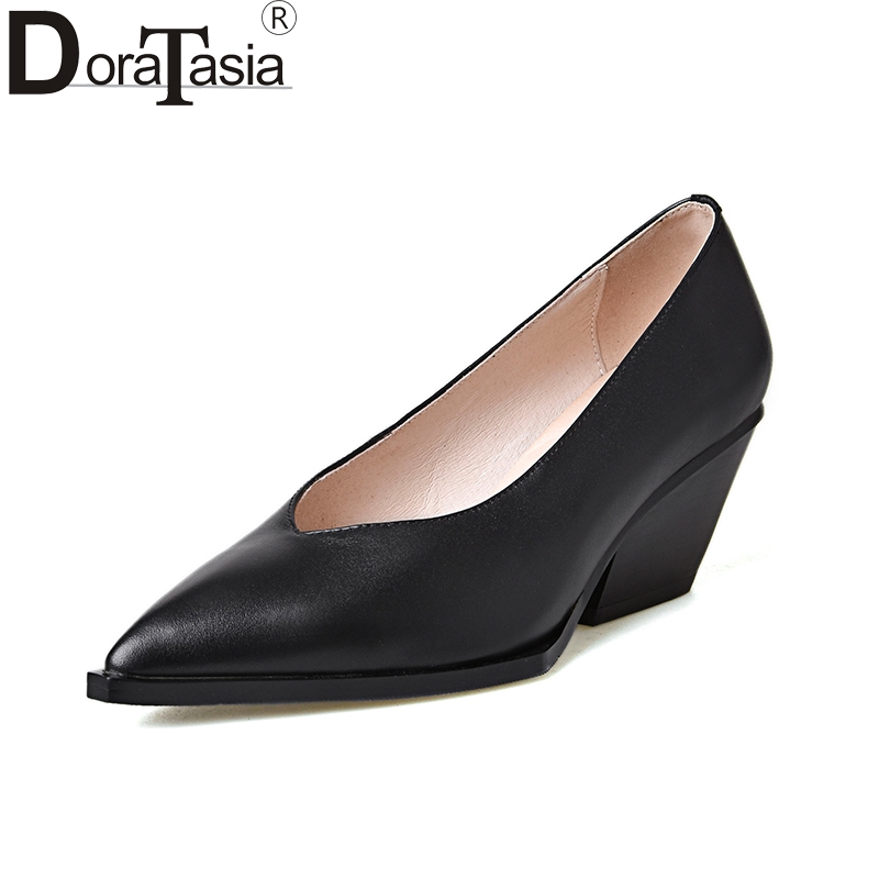 DoraTasia 2018 Genuine Leather Chunky High Heels Slip On Women Shoes Woman Black Pointed Toe Woman Pumps Size 34-39 nayiduyun women genuine leather wedge high heel pumps platform creepers round toe slip on casual shoes boots wedge sneakers