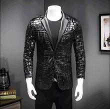man jacket black male boy blazer outerwear dancer singer dress performance show nightclub slim starSequins windbreaker star show