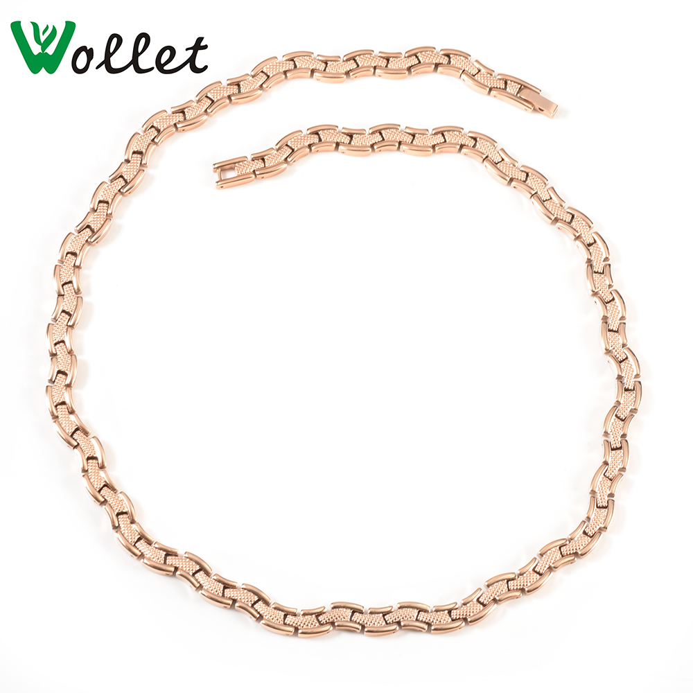 Wollet bijoux vague d'eau pur titane magnétique collier femmes Rose or couleur soins de santé guérison énergie aimant cuivre