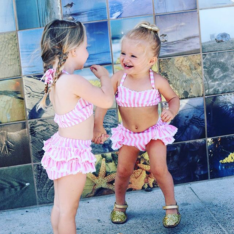 Cute Toddler Baby Girls Summer Swimwear Beachwear Ruffles Stripe 2pcs Bathing Suit Swimsuit Swimming 2018 Baby Clothing