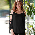 2016 Plus Size XXXXL New Fashion Brand Summer Solid 60% Off The Shoulder T Shirt Women Long Bandage Sleeve 5XL 6XL Tops T-Shirt