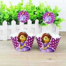 24pcs/set Sofia Princess Cupcake Wrappers Toppers For Kid Birthday Party CupCake Event Supplies Wedding Decoration