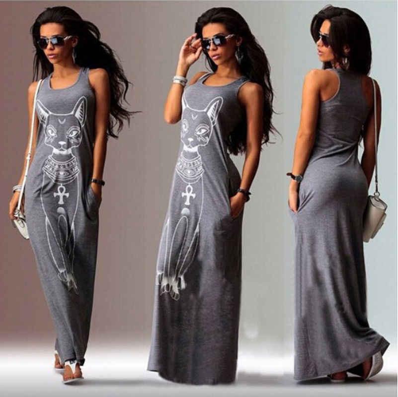 Cute Women Summer Cat Print Sleeveless Pencil Dress Long Maxi Dress Party Beach Sundress Gray White