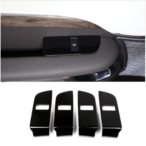 4 pièces noir brillant ABS Chrome sécurité enfant serrure de porte interrupteur panneau couvercle garniture pour Land Rover Discovery 5 2017 accessoires d'intérieur