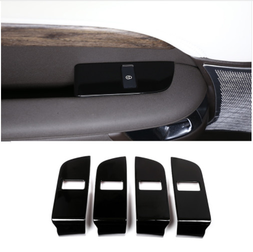 4pcs Gloss Black ABS Chrome Child Safety Door Lock Switch Panel Cover Trim For Land Rover Discovery 5 2017 Interior Accessories