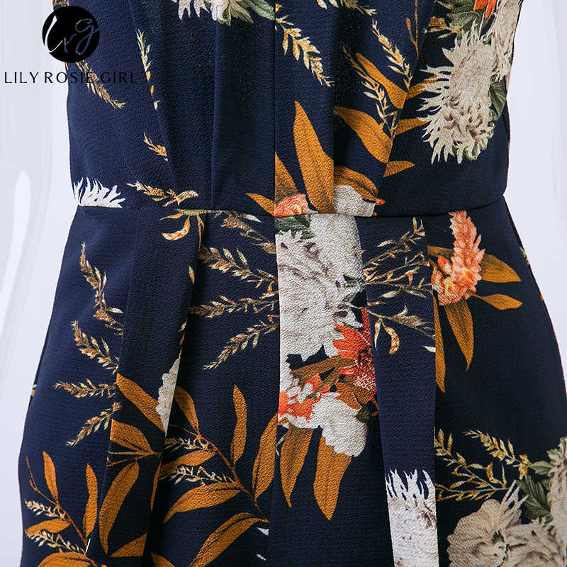 Lily Rosie девушка темно-синий цветочный V образным вырезом ремень женский комбинезон с открытой спиной Boho летние пляжные Сексуальные вечерние комбинезон короткий комбинезон