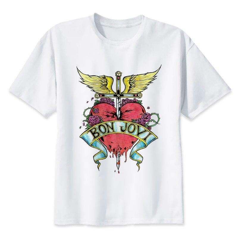 Bon Jovi Logo Sketch 2017 fashion short   t     shirt   printed Funny   t  -  shirt   men tops MR1083