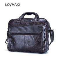 2017 Hot Men S Leather Briefcases Male Business Handbags Vintage Laptop Bags Messenger Bags Travel Large