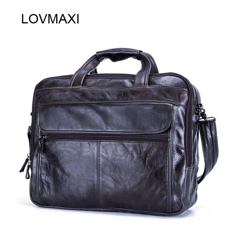 LOVMAXI 2018 Porte-documents pour hommes en cuir véritable Causal Laptop Bags Messenger Bag Large sac de voyage 100% en cuir véritable pour hommes