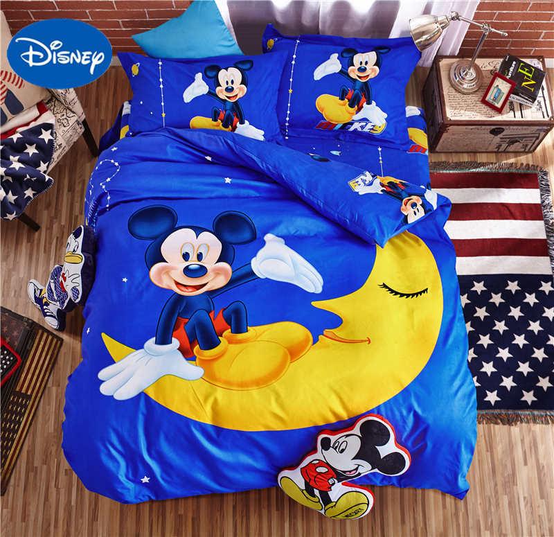 Disney Mickey Mouse Moon 3D couvre ensembles de literie garçons enfant couvre-lits Polyester tissé chambre décor simple jumeau complet reine bleu