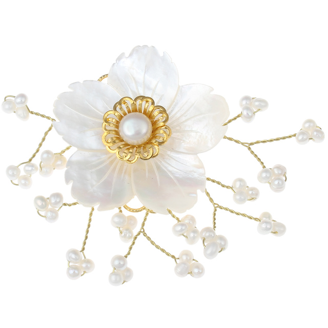 Fine Fabric Blue Rose-shaped 9mm White Freshwater Pearl Brooch Pin quP2ogFA