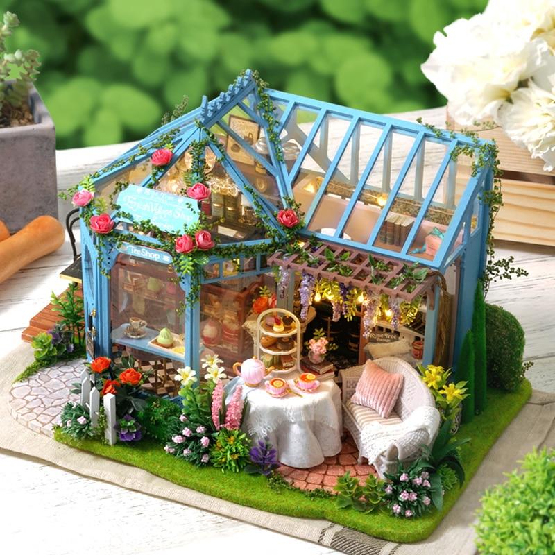 Bricolage maison De poupée meubles Rose jardin maison De thé Miniature maison De poupée jouets pour enfants familles maison Casinha De Boneca Lol maison