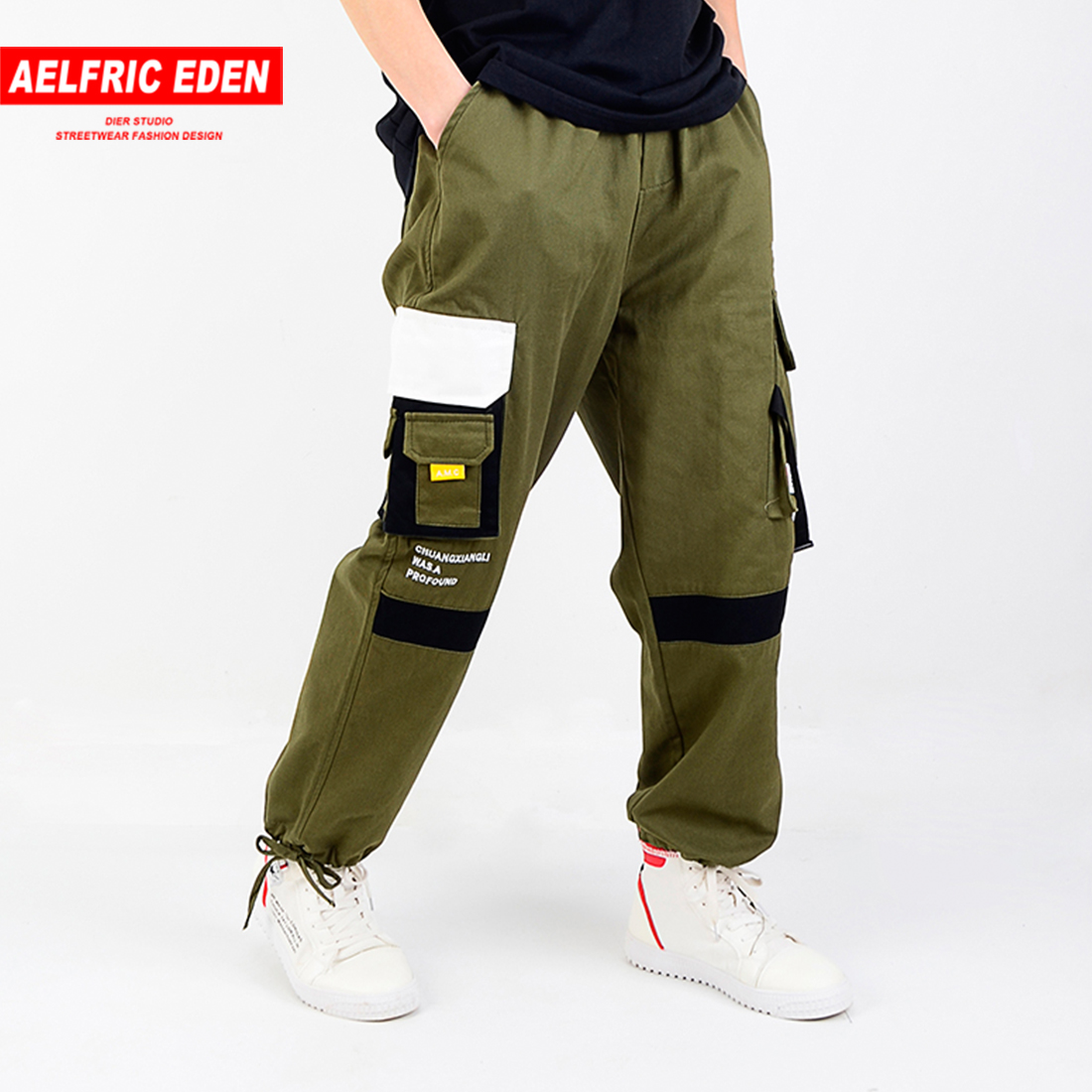 Aelfric Eden Pockets Cargo Pants Men 2019 Spring Color Block Harem Jogger Skateboard Trousers Fashion Streetwear Casual Joggers