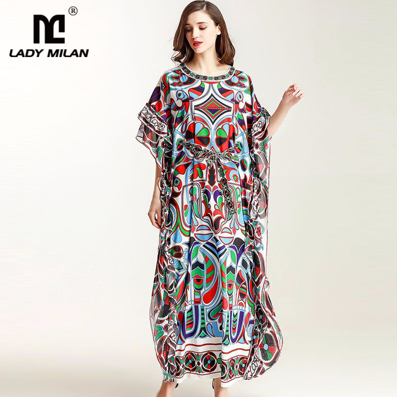 New Arrival 2018 Womens O Neck Sleeveless Ruffles Printed High Street Loose Design Fashion Long Dresses