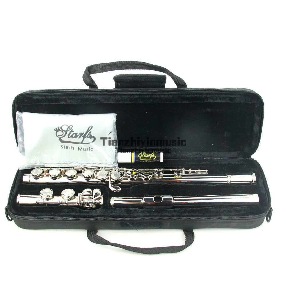 nickel Plated CONCERT FLUTE Closed Holes 17 key Ckey+E Top Modelnickel Plated CONCERT FLUTE Closed Holes 17 key Ckey+E Top Model