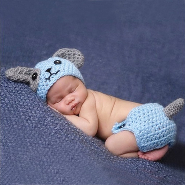 Cute puppy dog newborn baby boys photography props knitted infant animal costume boys outfits crochet baby