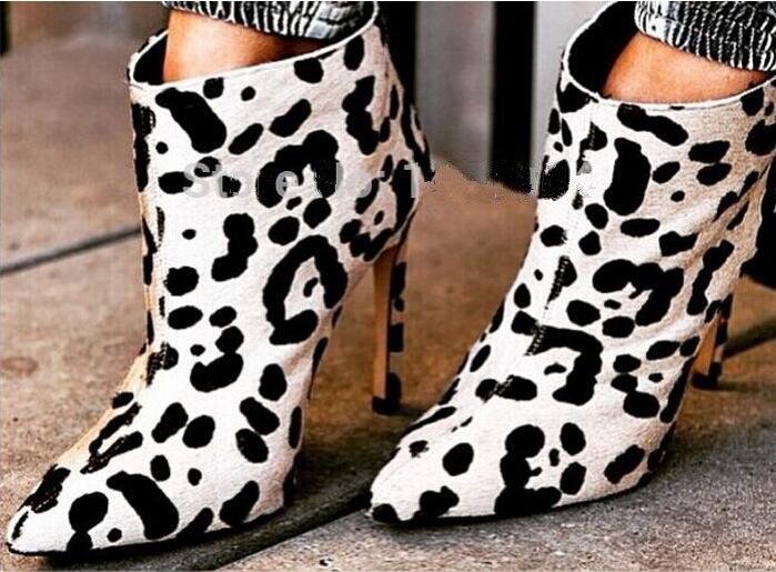 Primavera 2017 nuovo arrivo bianco del modello del leopardo tacco alto alla caviglia stivali crine di cavallo scarpe a punta torna cerniera punk stivali per donna