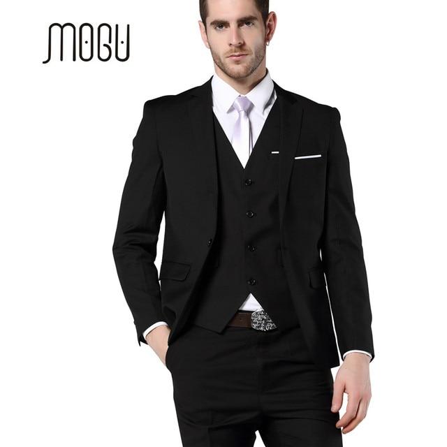 Mogu Mens 3 Piece Suit Jacket Vest Pants Slim Fit Black