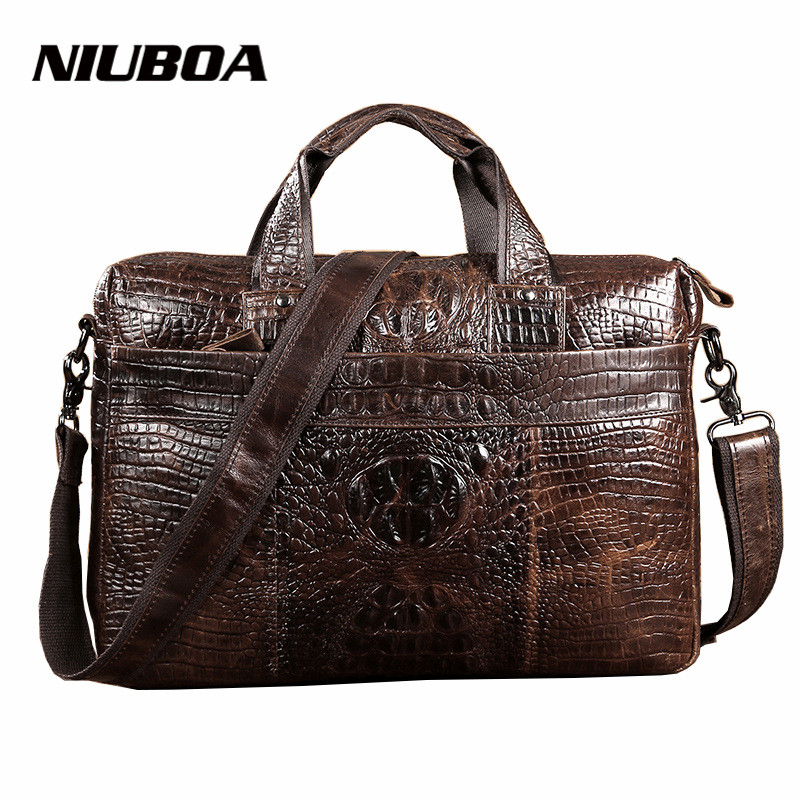 Men Shoulder Bags 100% Genuine Leather Messenger Bags Fashion Laptop Briefcase Crocodile Pattern High Quality Tote Handbags
