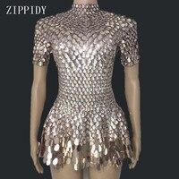 Shining Lovely Sequins Mini Dress Costume Celebrate Rhinestone Bodysuit Birthday Silver Dresses Sexy Nightclub Leotard